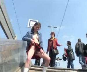 Kinky amateur bitch doings sucking dicks, bondage in public