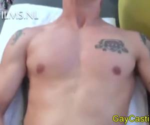 Young gay at a gay porn audition