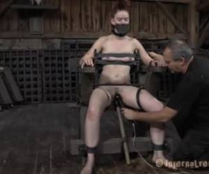 Lovely girl got tied up and tortured in the basement and it looks like she likes it