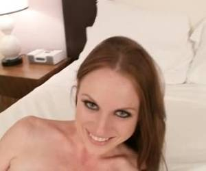 Pale college babe is making a porn video, because she needs money to pay the scholarship
