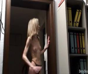 Anorexia girl showing off her naked tits